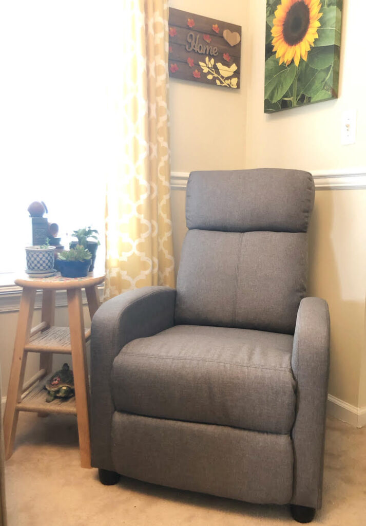 comfortable gray recliner chair