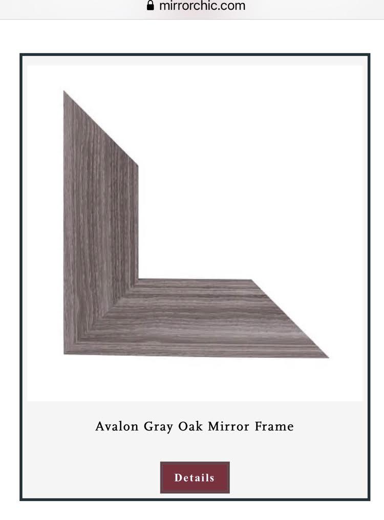 an Avalon gray oak bathroom mirror frame by MIrrorChic