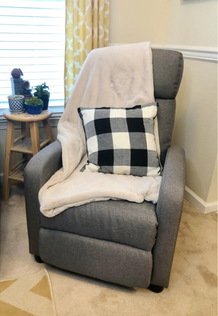 living room gray recliner chair
