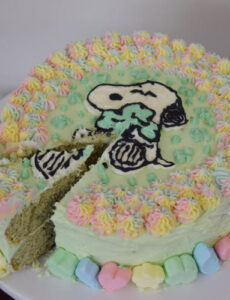snoopy shamrock cake frosted with green and rainbow frosting