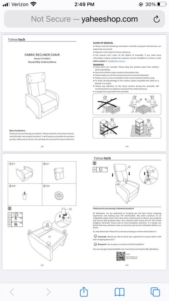 instructions for assembling the Yaheetech recliner sofa chair