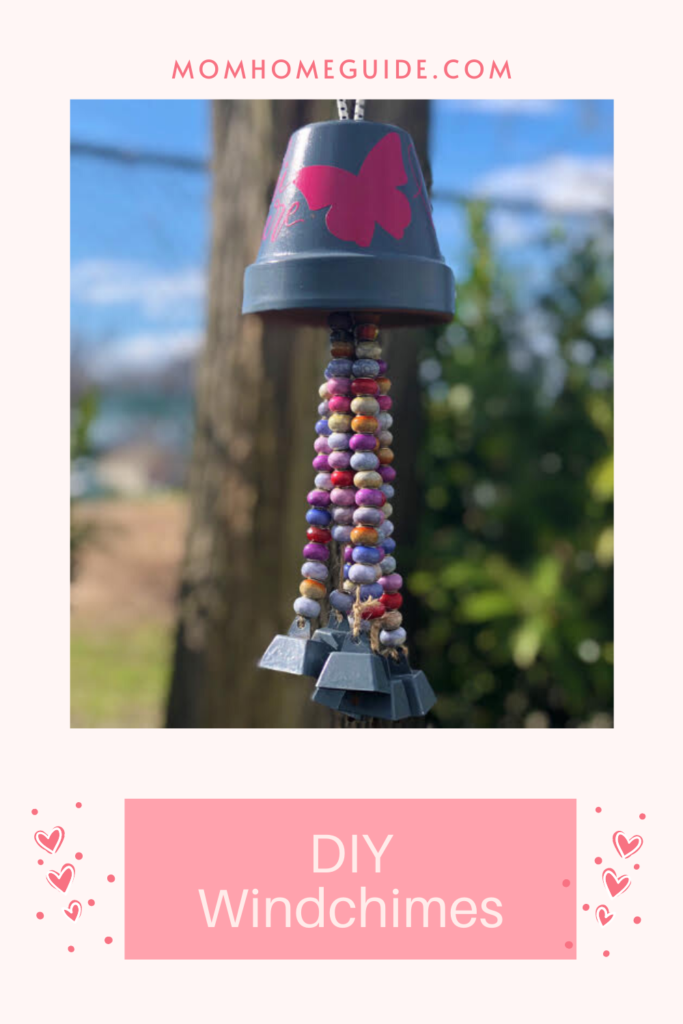 terra cotta pot wind chimes with beads and bells