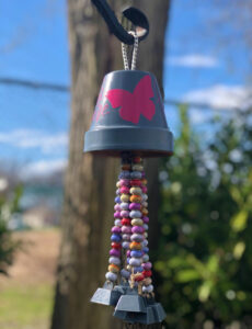 DIY flower terra cotta pot wind chimes with beads and bells