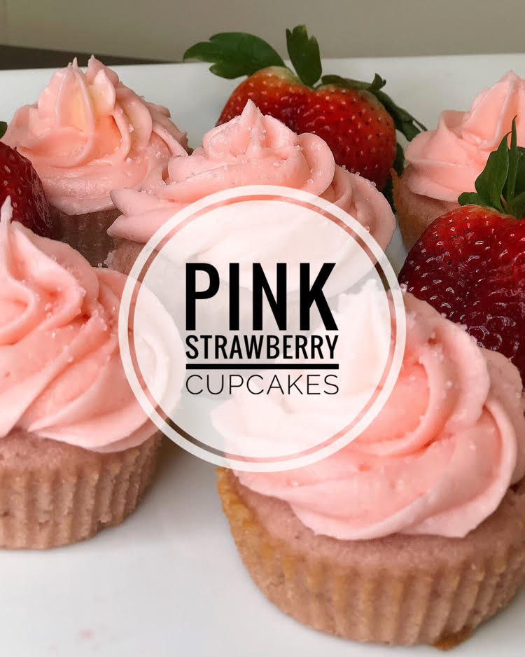 pink strawberry cupcakes with buttercream icing