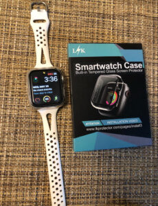 Replacement watch band for Apple Watch Series 6 and a clear plastic screen protector.