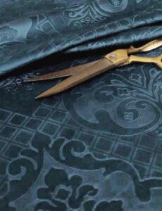 blue velvet with gold scissors