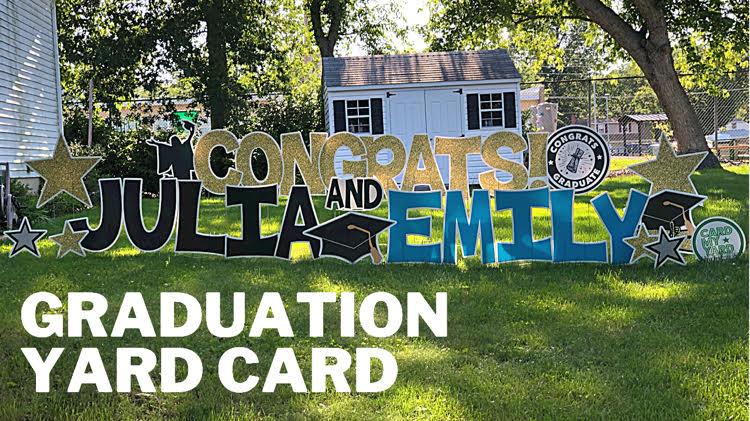 graduation yard card display