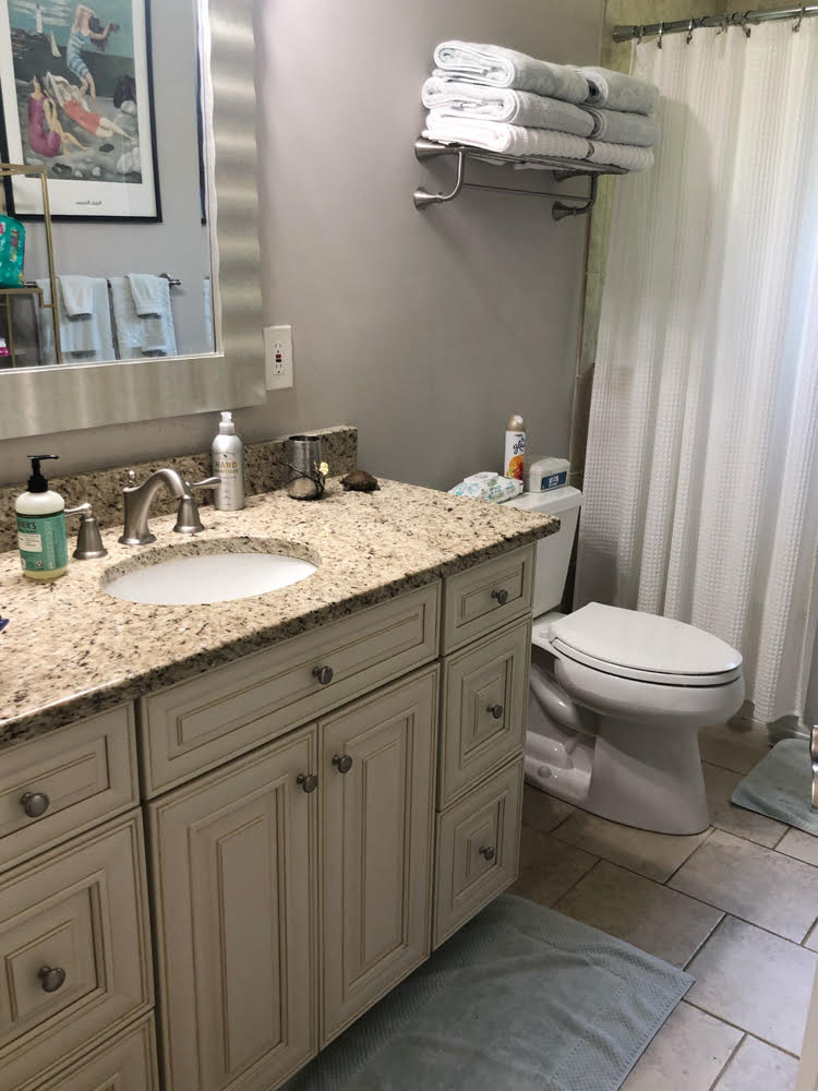 Annapolis Airbnb bathroom with granite counters
