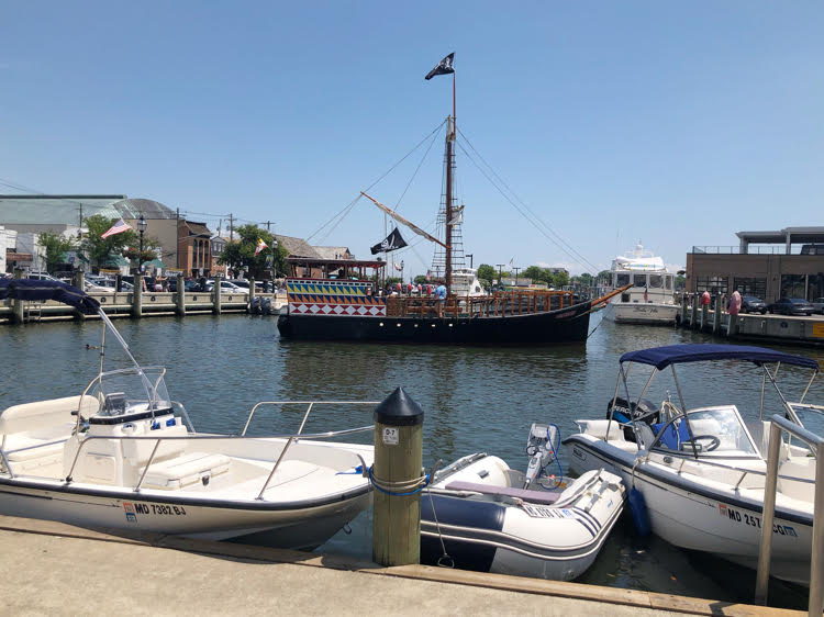 Annapolis waterfront with pirate ship tourist attradtion
