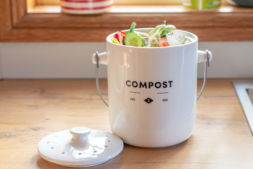 ceramic compost container on kitchen counter
