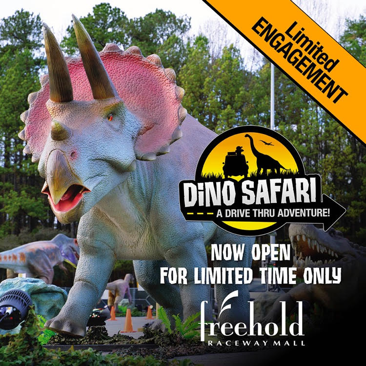 This large dinosaur at the Dino Safari at Freehold Raceway Mall is just one of many dinosaurs at the new interactive drive through experience open now through August.