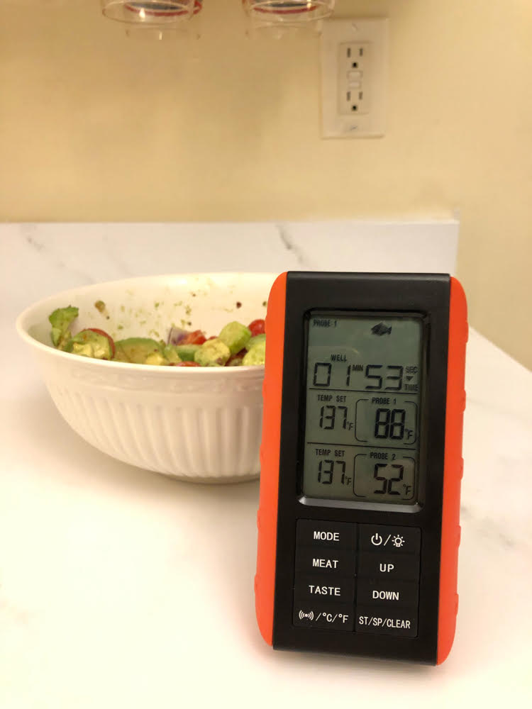 remote wireless cooking thermometer marble kitchen counter