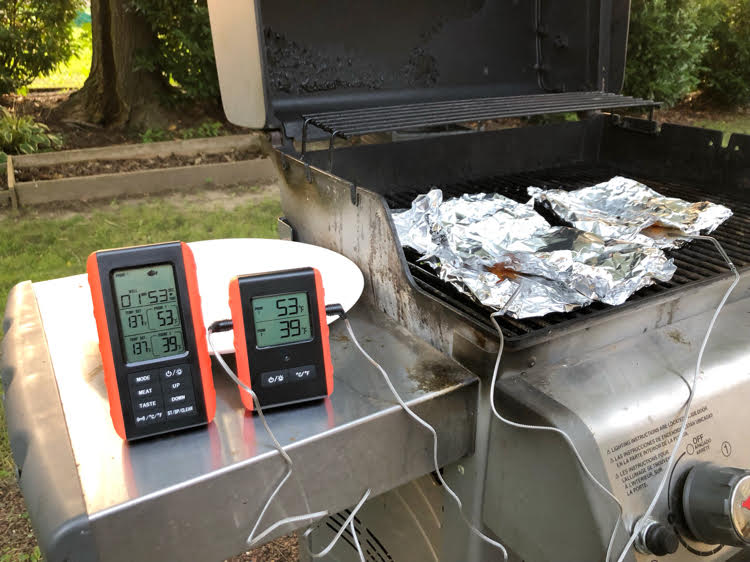 cooking on a grill with a remote wireless meat, chicken and fish thermometer