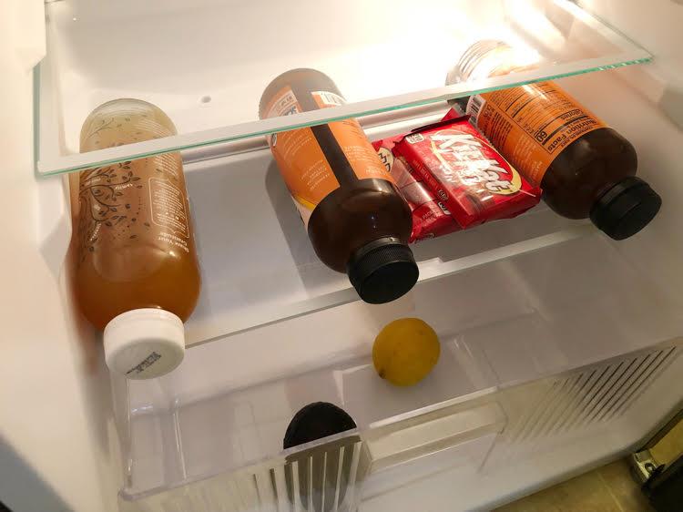 nice interior of NewAir compact refrigerator with glass shelves