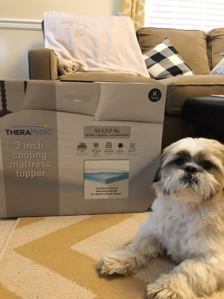 """My new Therapedic mattress topper makes my King-sized bed extra comfortable with its 2"""" of gel memory foam and 1"""" cooling cover."""